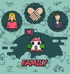 Family flat concept icons vector