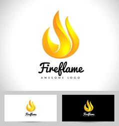 Fire flame logo 3d fire logo concept flame icon vector
