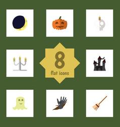 Flat icon celebrate set of broom cranium zombie vector