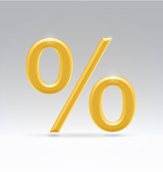 golden percent symbol vector image