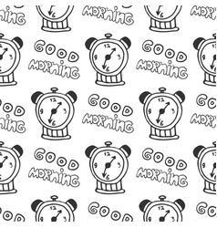 hand drawn seamless pattern with alarm clocks vector image