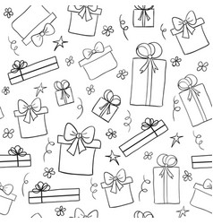 Hand drawn sketch gift boxes seamless pattern vector
