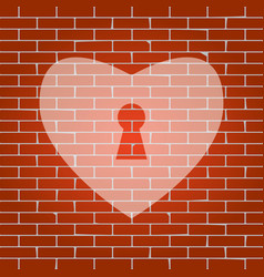 Heart with lock sign whitish icon on vector