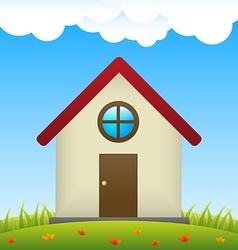 House on meadow with flowers vector image vector image