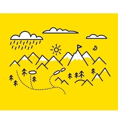 Map mountains set graphic elements yellow black vector