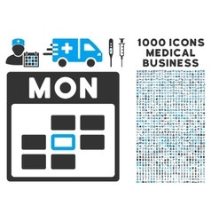 Monday calendar grid icon with 1000 medical vector