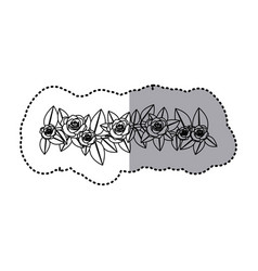 monochrome contour sticker of crown of leaves with vector image vector image