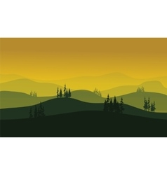 Morning at foggy mountains vector