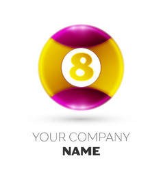Number eight logo symbol in colorful circle vector