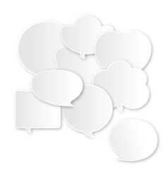 Paper communication bubbles on white background vector image