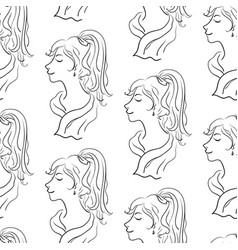 Seamless pattern women contours vector