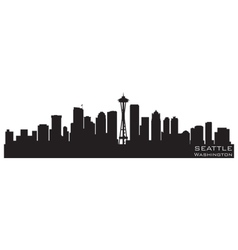 seattle washington skyline detailed silhouette vector image vector image