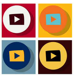 set of flat play logo icon buttonyoutube flat vector image vector image