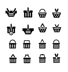 shopping cart icon set 16 item vector image