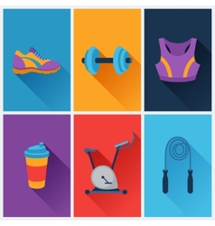 Sports and fitness icons set in flat style vector image vector image