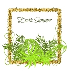 Summer tropical green plants in glitter frame vector