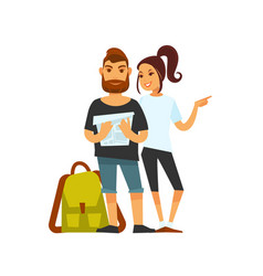 Tourist couple with travelling backpack looks on vector
