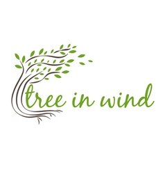 Tree in wind with text vector
