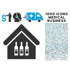 Wine bar icon with 1000 medical business symbols vector