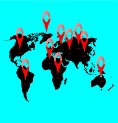 World map location vector image vector image
