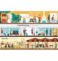 Trip to paris hotel booking tourism flat interior vector