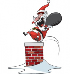 Santa down chimney vector