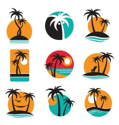 palm labels set vector image