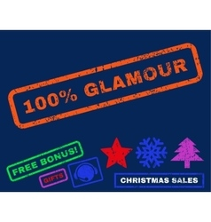100 percent glamour rubber stamp vector