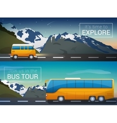 Travel banners set bus tour to alps vector
