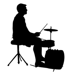 Silhouette musician drummer on white background vector