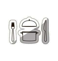Sticker medium shade of cooking pot and cutlery vector