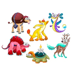 Group of funny strange animals vector image