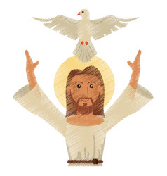 drawing jesus christ holy spirit design vector image