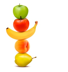 Group of fresh fruit dieting concept vector