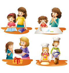 Four activities of mother and daughter vector