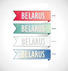 Ribbon set strips belarus in retro style vector