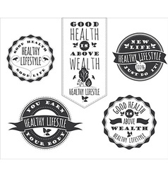 Set of healthy lifestyle labels and signs vector