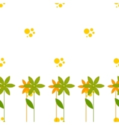Seamless pattern with cartoon flowers bubbles vector