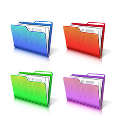 Set of colorful transparent folder with papers vector