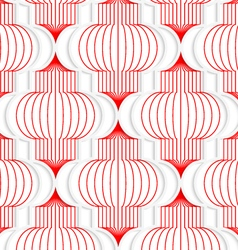 Colored 3d red vertical chinese lanterns vector