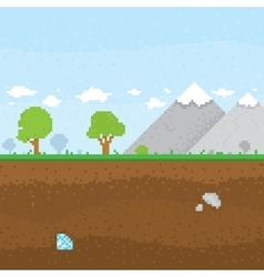 Pixel art mountain location vector