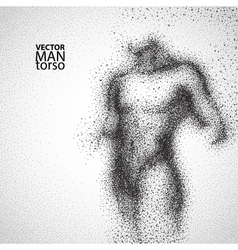 Man torso graphic drawing with black particles vector