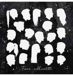Face silhouettes chalk vector