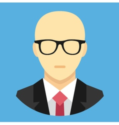 Bald man in business suit icon vector