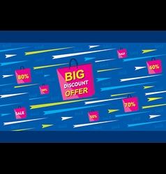 big discount offer banner using shopping bag poste vector image