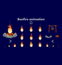 bonfire animation sprites flame vector image
