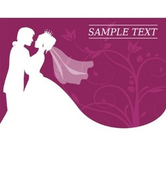 bride and groom on a burgundy background with swir vector image