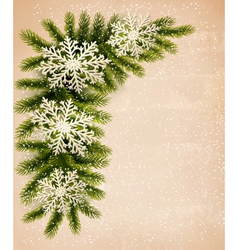 Christmas retro background with christmas tree vector