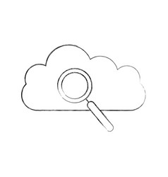 cloud computing with magnifying glass vector image