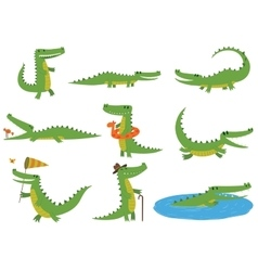 Crocodile character set vector image